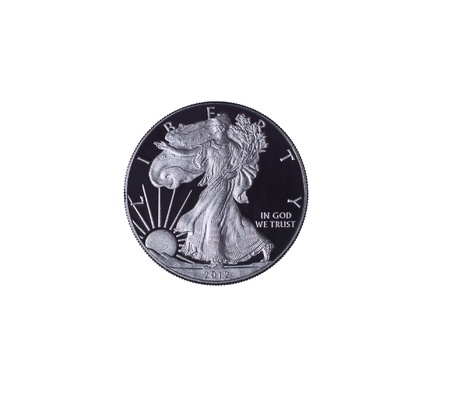 numismatics: 2012 United States Pure Siver Dollar in Proof Condition on white background