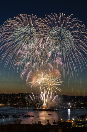 Fireworks in Seattle Washington on beautiful summer night  photo