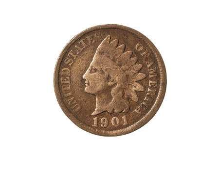 Old American One Cent Coin (Indian Head) on White Background  photo
