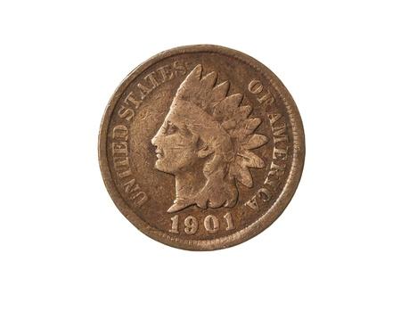 monedas antiguas: Old American One Cent Coin (Indian Head) sobre fondo blanco
