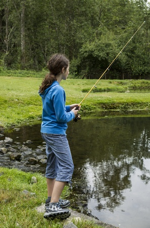 Young girl fishing in small lake with woods in background photo