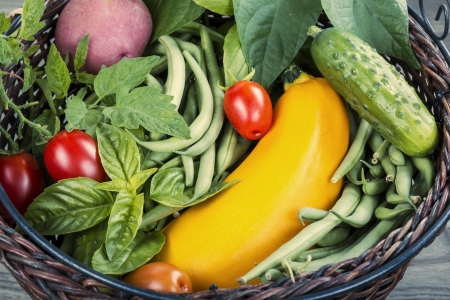 Basket consisting of green beans, tomatoes, potato, basil and zucchini  photo