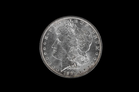 obverse: High Quality American Silver Dollar isolated on Black Background