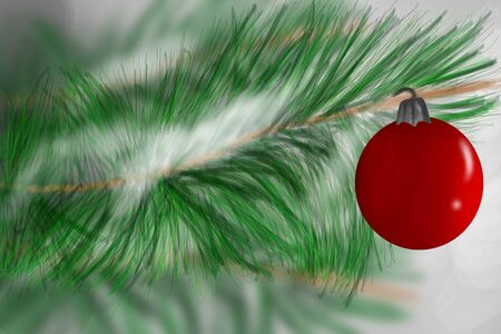 Illustration of Red Christmas ornament hanging in snowy evergreen tree branch