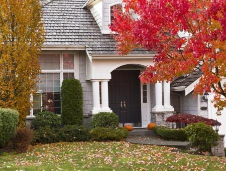 case colorate: Casa moderna circondata da stagione autunnale con foglie d'acero su un terreno e alberi di svolta colori vivaci Archivio Fotografico