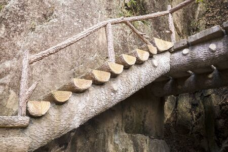 Crafted staircase in Chinas Yellow Mountain Trail