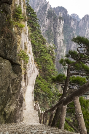 Very steep staircase into Chinas Yellow Mountain Pass