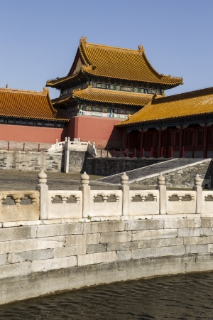 Water and pathway in front of temple at the forbidden city in China with blue sky in background