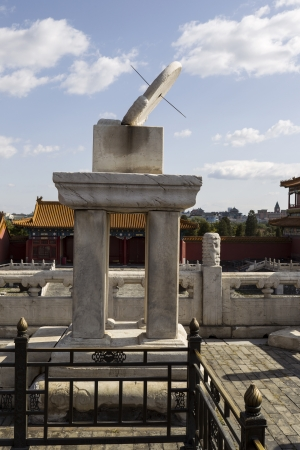 sun dial: Sun dial to keep time in ancient times in China at the Forbidden City  Stock Photo