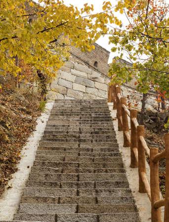 badaling: Stairway leading to the Great Wall in Mutianyu near Beijing China