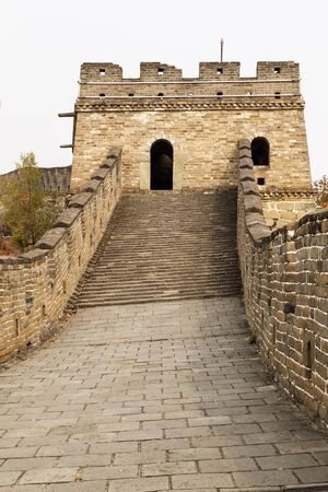 badaling: Large walkway to building on Great Wall in Mutianyu China  Stock Photo