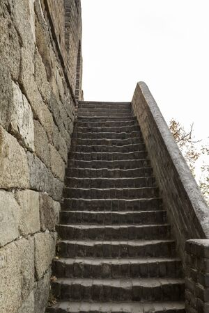badaling: steep steps on the side of the great wall in Mutianyu China