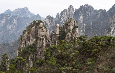 Skyward pointing rocks stacked on each other in Yellow Mountains China