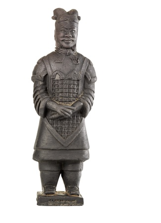 dynasty: Single Terracotta General warrior statue made of pottery on white background