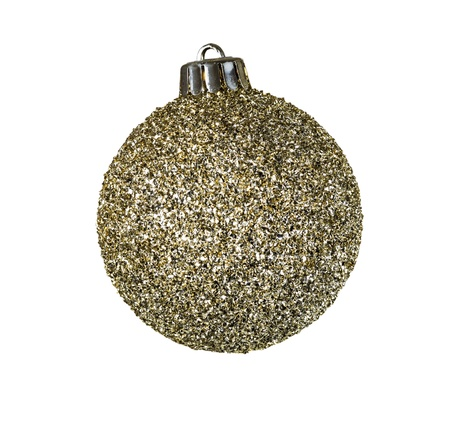 flaked: Single Golden Flaked Holiday Ornament on White Background