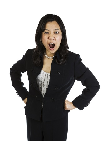 Mature Asian woman showing extreme anger on white background  Stock Photo - 16633964