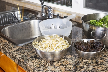 bean sprouts: Bean sprouts, Chinese wood ears, and Choy on top of kitchen counter next to stainless steel sink with plastic strainer  Stock Photo