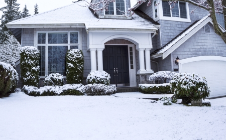 Horizontal photo of suburban home with snow on lawn, plants, trees and roof