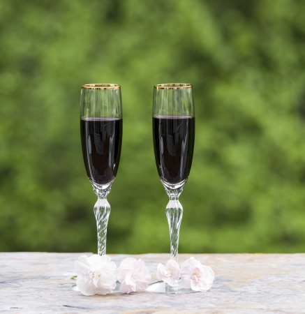 Photo of red wine in glasses with late spring pink flower on bright green background  photo