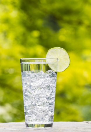 Vertical photo of a tall glass of water resting on natural stone, ice cubes and slice of lime with daylight coming through blurred trees in background   Banco de Imagens