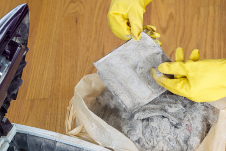 Horizontal photo of gloved hands removing dirt from vacuum cleaner filter into plastic bag  Фото со стока