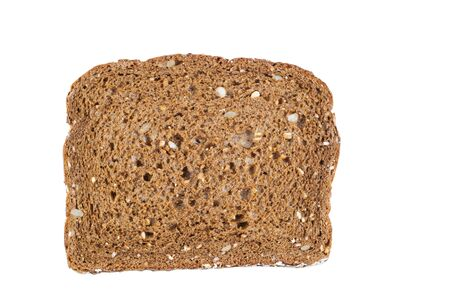 Horizontal photo of a single slice of sweet dark whole grain bread isolated on white  photo