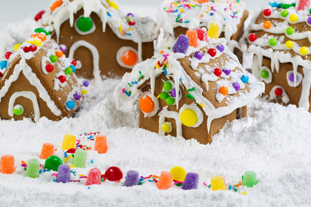 Gingerbread houses surrounded by powered snow photo