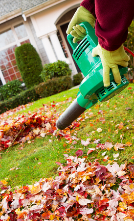 cleanup: Vertical photo of electrical blower, gloved hands holding, cleaning leaves from front yard with house in background Stock Photo