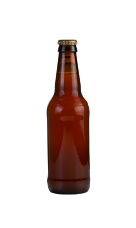 unopened: Vertical photo of an unopened bottle of beer isolated on white