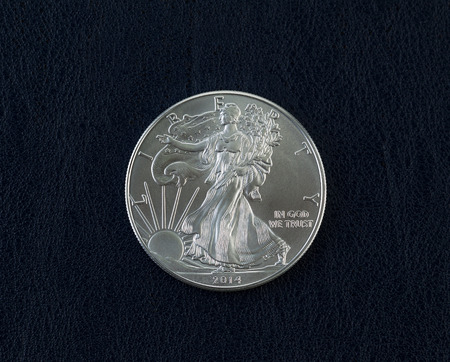 Closeup photo of an uncirculated American Silver Eagle Coin Dollar on dark blue vinyl holder Stock Photo - 27212099