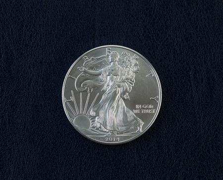Closeup photo of an uncirculated American Silver Eagle Coin Dollar on dark blue vinyl holder Stock Photo - 27212099