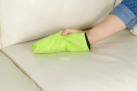 dirty room: Horizontal photo of female hand holding microfiber rag with cleaning solution in front of white leather sofa