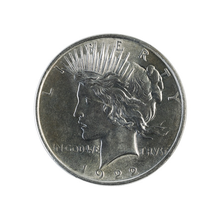 Closeup photo of a Peace Silver Dollar, obverse side, isolated on white   Stock Photo - 27525070