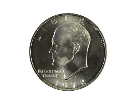 an obverse: Closeup photo of an Eisenhower Silver Dollar, obverse side, isolated on white