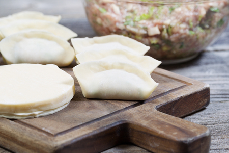 Closeup horizontal photo of homemade traditional Chinese Dumplings in wrappers being made from raw ingredients  Stock Photo