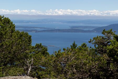 High view point of the San Juan Islands, take from Mount Constitution, during summertime on a nice day photo