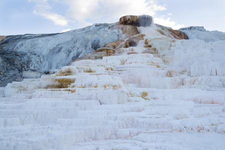 Closeup horizontal image of Mammoth Hot Springs in Northern part of Yellowstone National Park