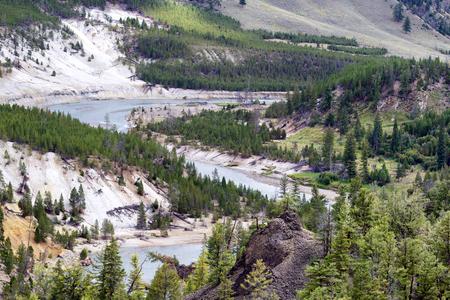cutting through: Horizontal image of Yellowstone River cutting through the canyon