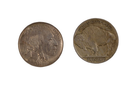 reverse: Closeup image of American Buffalo Nickels, obverse and reverse positions, isolated on white