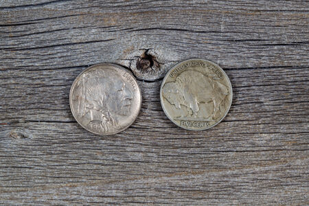 reverse: Closeup image of American Buffalo Nickels, reverse and obverse sides, on rustic wood