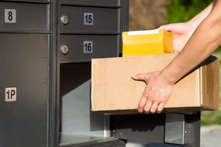 mail order: Horizontal image of female hands putting packages into postal mailbox with green grass and sidewalk in background
