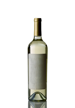 sauvignon blanc: Vertical image of an unopened bottle of white wine isolated over white background with reflection Stock Photo