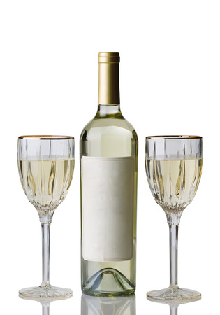 sauvignon blanc: Vertical image of an unopened bottle of white wine, with drinking glasses, isolated over white background with reflection