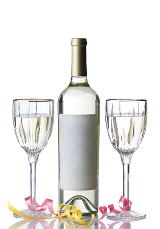 unopened: Vertical image of an unopened bottle of white wine, with filled glasses and party ribbons, isolated over white background with reflection