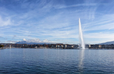 eau: Horizontal image of Lake Geneva, Switzerland, with famous Jet d Eau fountain in background on nice sunny day Stock Photo