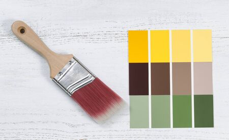 redecorate: Close up of a new paint brush and paint color choice templates on white wooden boards