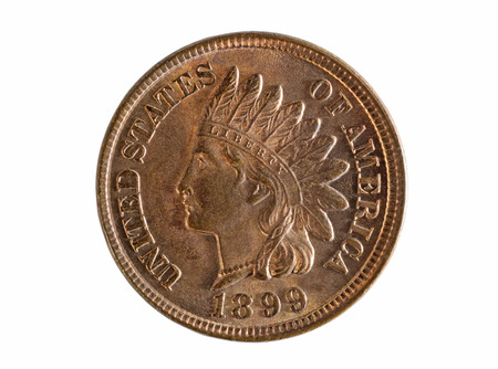 numismatic: United States of America Indian Head one cent coin isolated on white background. Coin is grade mint state condition as uncirculated. Stock Photo
