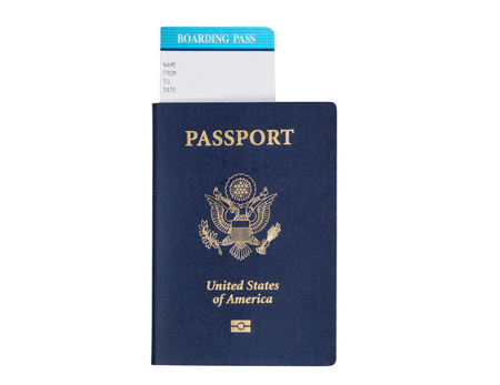 United States passport, with seal,  and boarding pass isolated on white background.