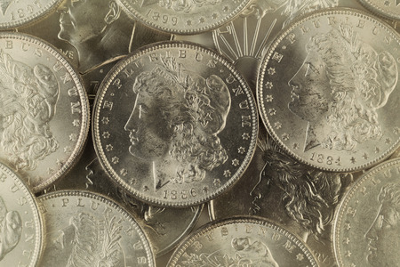 silver coins: Vintage concept of old silver coins with filled frame. Stock Photo