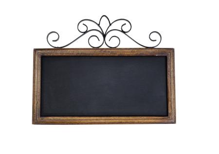 black empty board: Vintage chalkboard isolated on white. Stock Photo